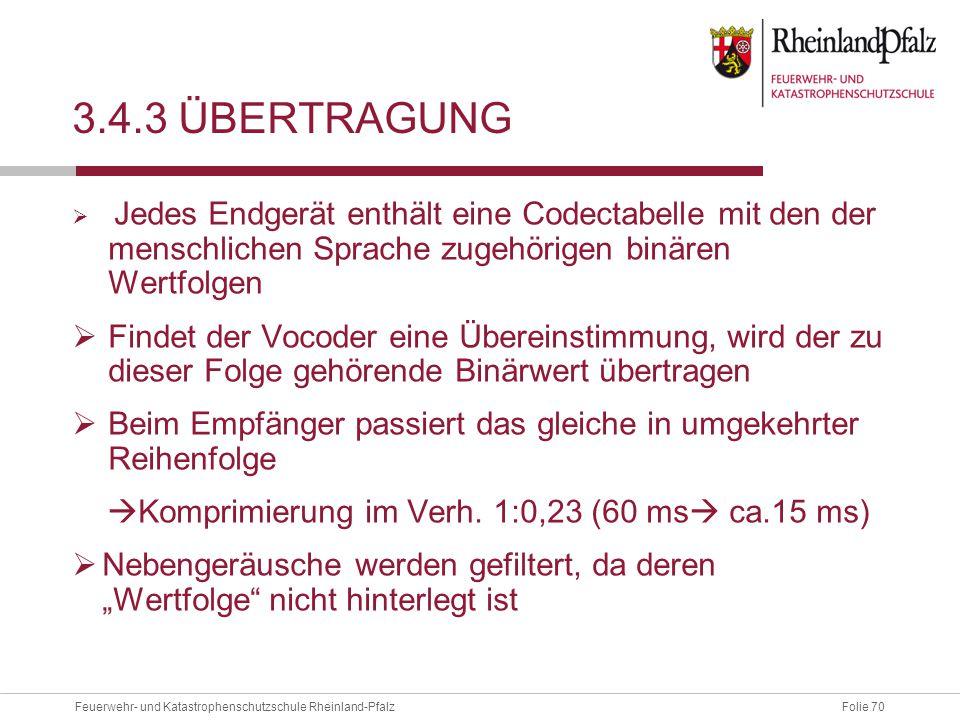Folie 70Feuerwehr- und Katastrophenschutzschule Rheinland-Pfalz 3.4.3 ÜBERTRAGUNG  Jedes Endgerät enthält eine Codectabelle mit den der menschlichen