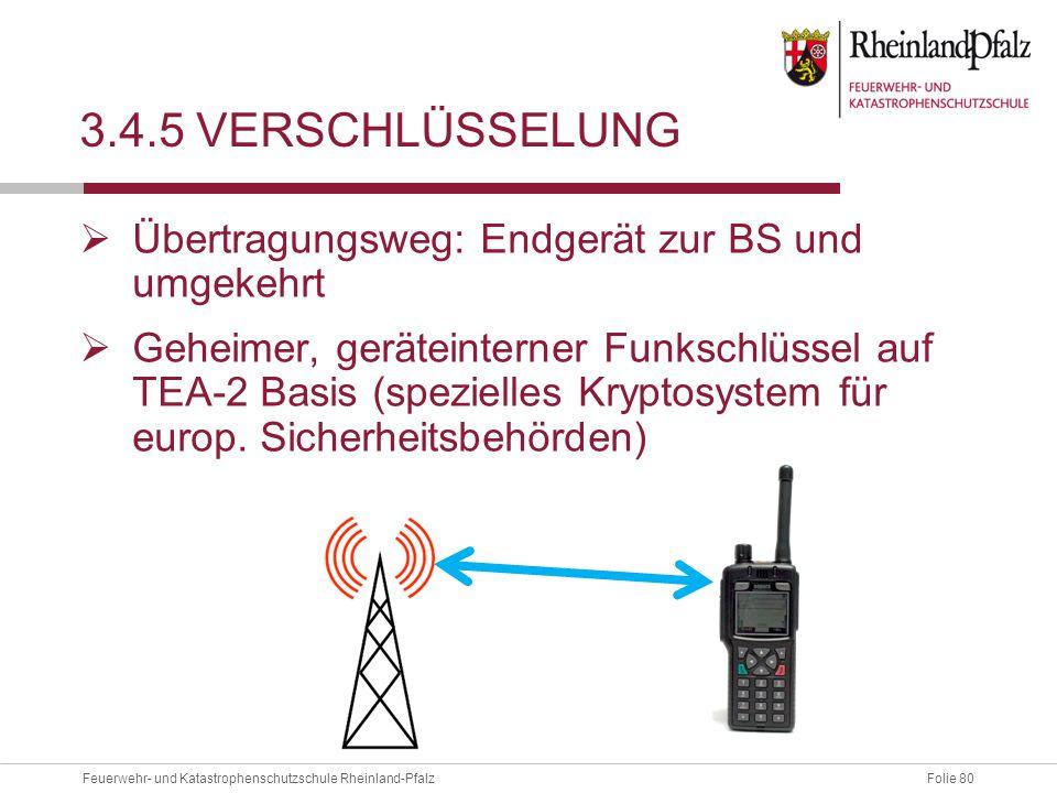 Folie 80Feuerwehr- und Katastrophenschutzschule Rheinland-Pfalz 3.4.5 VERSCHLÜSSELUNG  Übertragungsweg: Endgerät zur BS und umgekehrt  Geheimer, ger