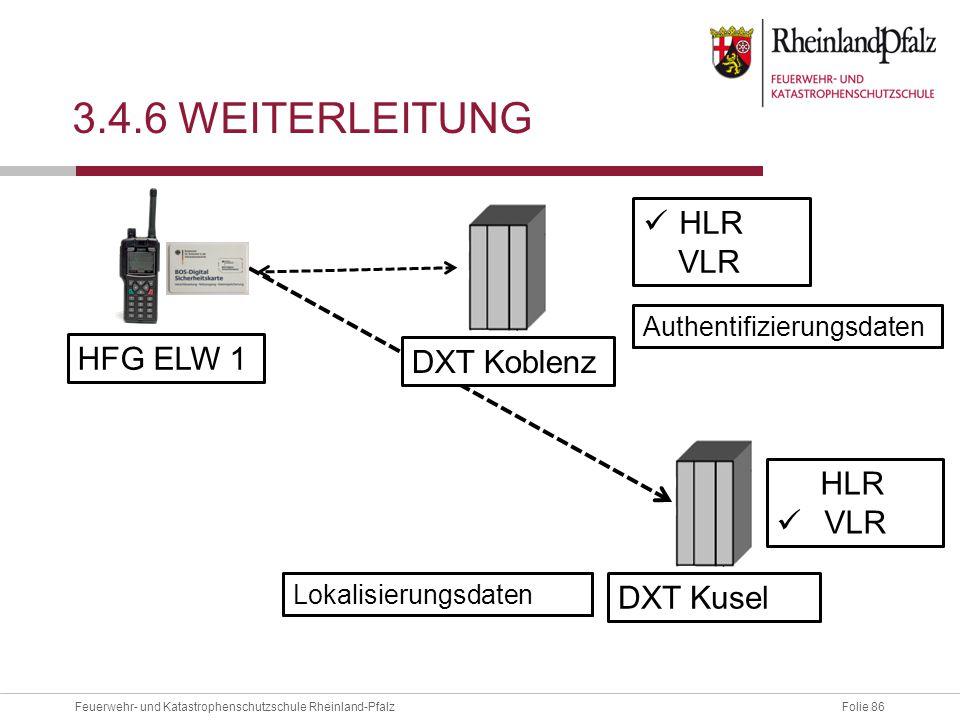 Folie 86Feuerwehr- und Katastrophenschutzschule Rheinland-Pfalz 3.4.6 WEITERLEITUNG HFG ELW 1 DXT Koblenz HLR VLR Authentifizierungsdaten DXT Kusel HL