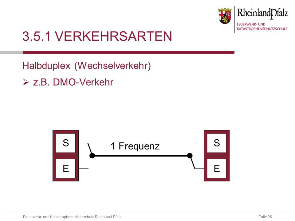 Folie 95Feuerwehr- und Katastrophenschutzschule Rheinland-Pfalz 3.5.1 VERKEHRSARTEN Halbduplex (Wechselverkehr)  z.B. DMO-Verkehr EE SS 1 Frequenz
