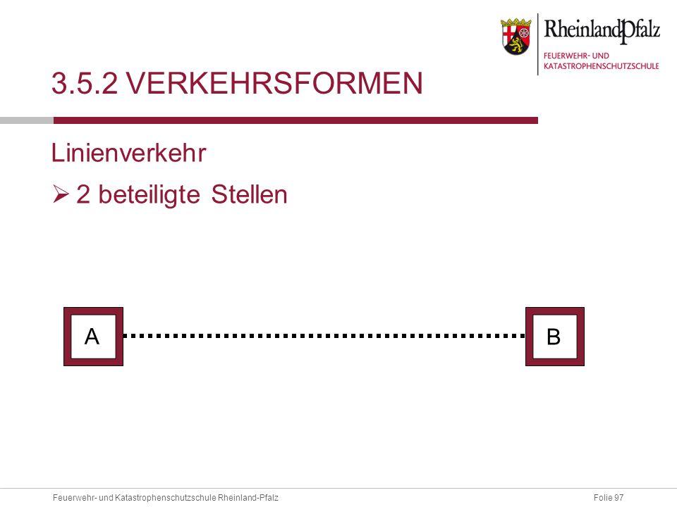 Folie 97Feuerwehr- und Katastrophenschutzschule Rheinland-Pfalz 3.5.2 VERKEHRSFORMEN Linienverkehr  2 beteiligte Stellen A B