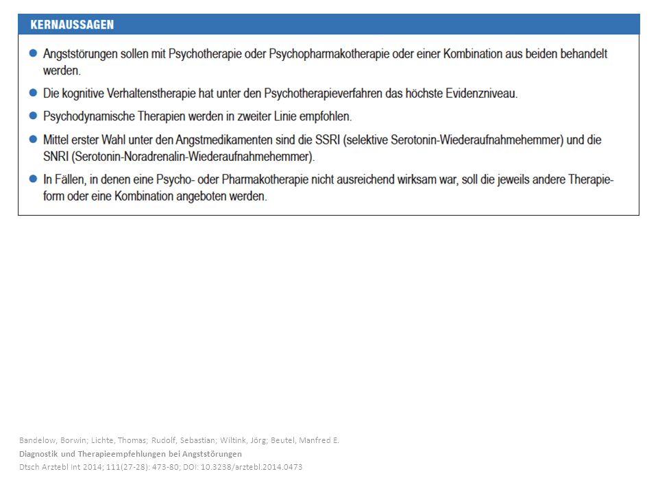 Bandelow, Borwin; Lichte, Thomas; Rudolf, Sebastian; Wiltink, Jörg; Beutel, Manfred E. Diagnostik und Therapieempfehlungen bei Angststörungen Dtsch Ar