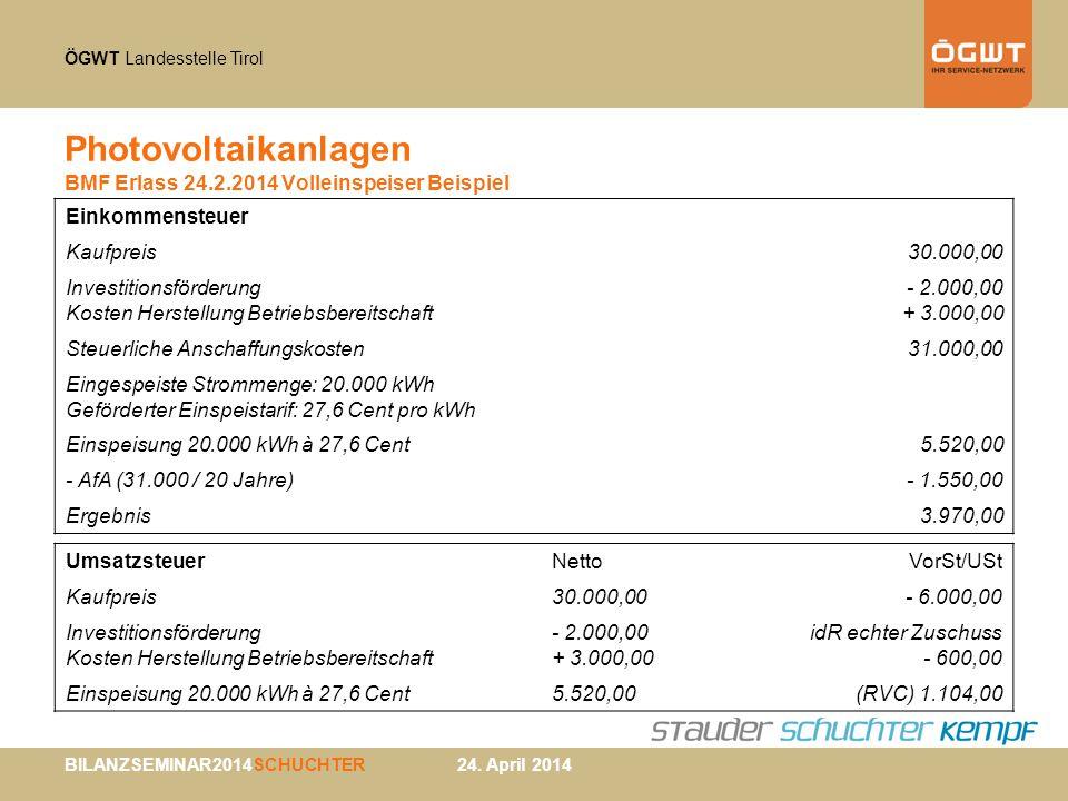 ÖGWT Landesstelle Tirol BILANZSEMINAR2014SCHUCHTER 24. April 2014 Photovoltaikanlagen BMF Erlass 24.2.2014 Volleinspeiser Beispiel Einkommensteuer Kau