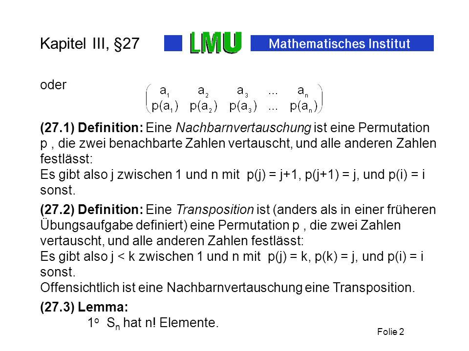 Folie 3 Kapitel III, §27 a(p) := #{(j,k) aus n : j p(k)}.