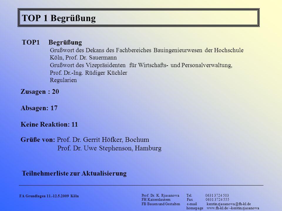 TOP 1 Begrüßung FA Grundlagen 11.-12.5.2009 Köln Prof. Dr. K. Rjasanowa Tel. 0631 3724 503 FH Kaiserslautern Fax 0631 3724 555 FB Bauen und Gestalten