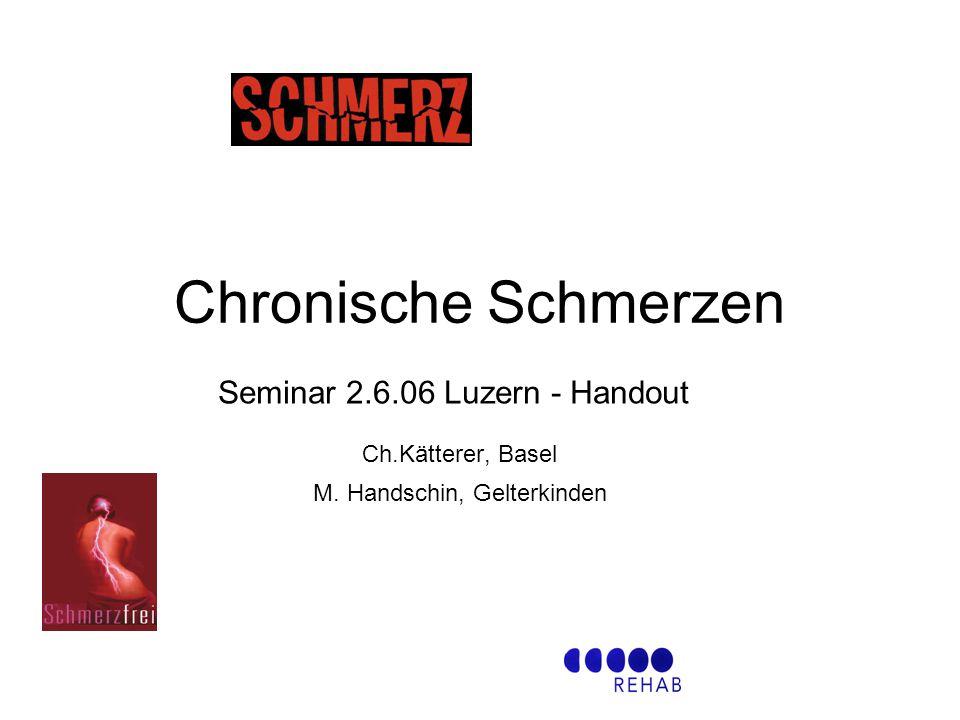 Chronische Schmerzen Seminar 2.6.06 Luzern - Handout Ch.Kätterer, Basel M. Handschin, Gelterkinden