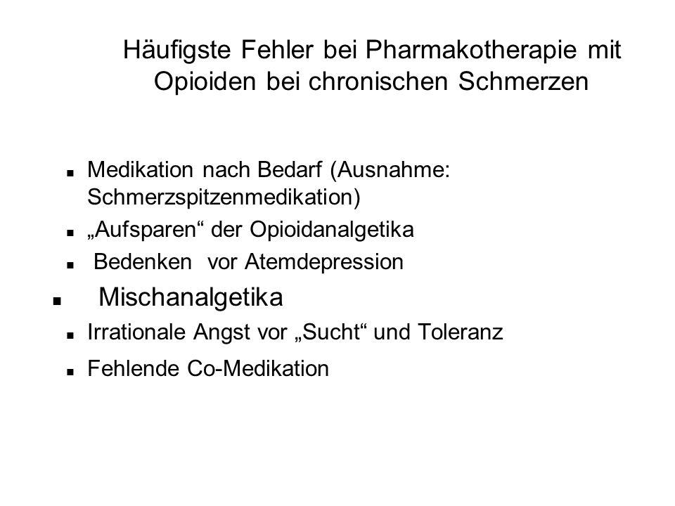 """Häufigste Fehler bei Pharmakotherapie mit Opioiden bei chronischen Schmerzen n Medikation nach Bedarf (Ausnahme: Schmerzspitzenmedikation) n """"Aufspare"""