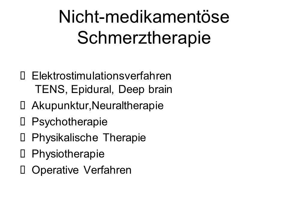 Nicht-medikamentöse Schmerztherapie  Elektrostimulationsverfahren TENS, Epidural, Deep brain  Akupunktur,Neuraltherapie  Psychotherapie  Physikali