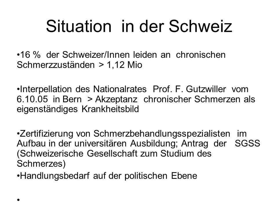 Situation in der Schweiz 16 % der Schweizer/Innen leiden an chronischen Schmerzzuständen > 1,12 Mio Interpellation des Nationalrates Prof. F. Gutzwill