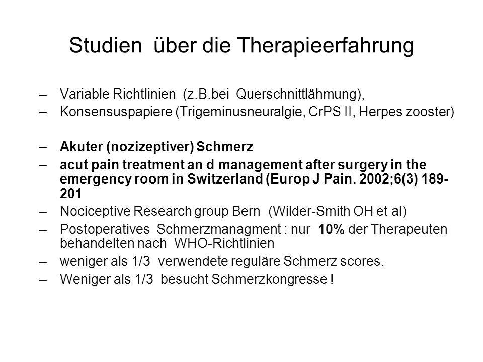 Studien über die Therapieerfahrung –Variable Richtlinien (z.B.bei Querschnittlähmung), –Konsensuspapiere (Trigeminusneuralgie, CrPS II, Herpes zooster