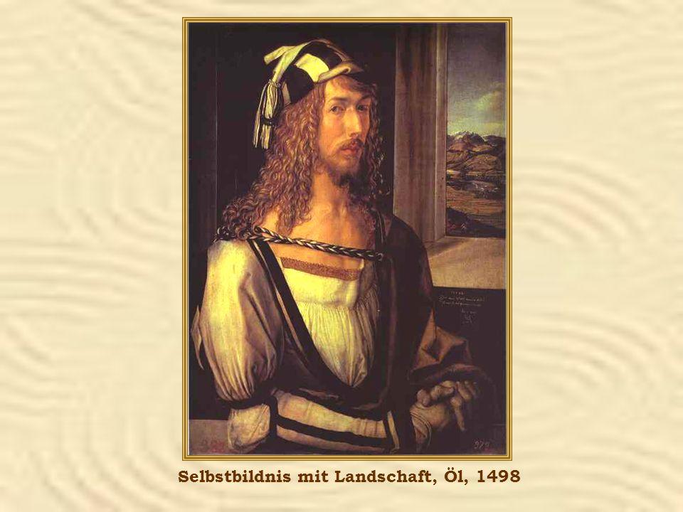 Selbstbildnis mit Landschaft, Öl, 1498