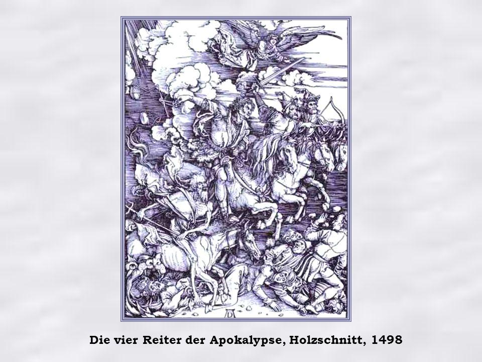 Die vier Reiter der Apokalypse, Holzschnitt, 1498