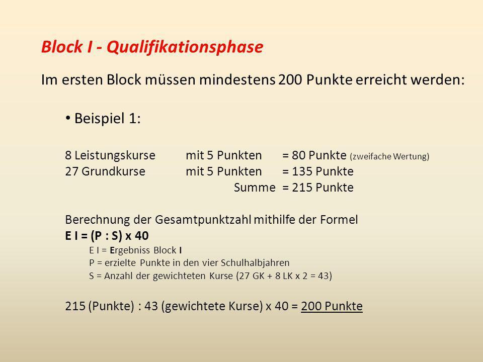Block I - Qualifikationsphase Im ersten Block müssen mindestens 200 Punkte erreicht werden: Beispiel 2: 8 Leistungskurse mit 15 Punkten= 240 Punkte (zweifache Wertung) 27 Grundkurse mit 15 Punkten= 405 Punkte Summe= 645 Punkte Berechnung der Gesamtpunktzahl mithilfe der Formel E I = (P : S) x 40 E I = Ergebniss Block I P = erzielte Punkte in den vier Schulhalbjahren S = Anzahl der gewichteten Kurse (27 GK + 8 LK x 2 = 43) 645 (Punkte) : 43 (gewichtete Kurse) x 40 = 600 Punkte