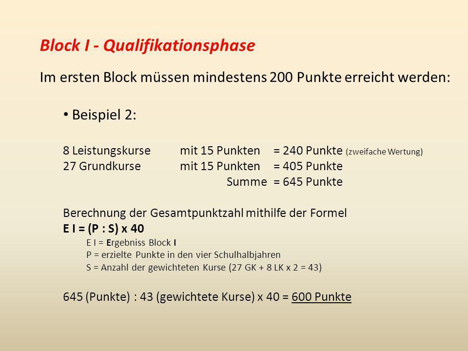 Block I - Qualifikationsphase Im ersten Block müssen mindestens 200 Punkte erreicht werden: Beispiel 2: 8 Leistungskurse mit 15 Punkten= 240 Punkte (z