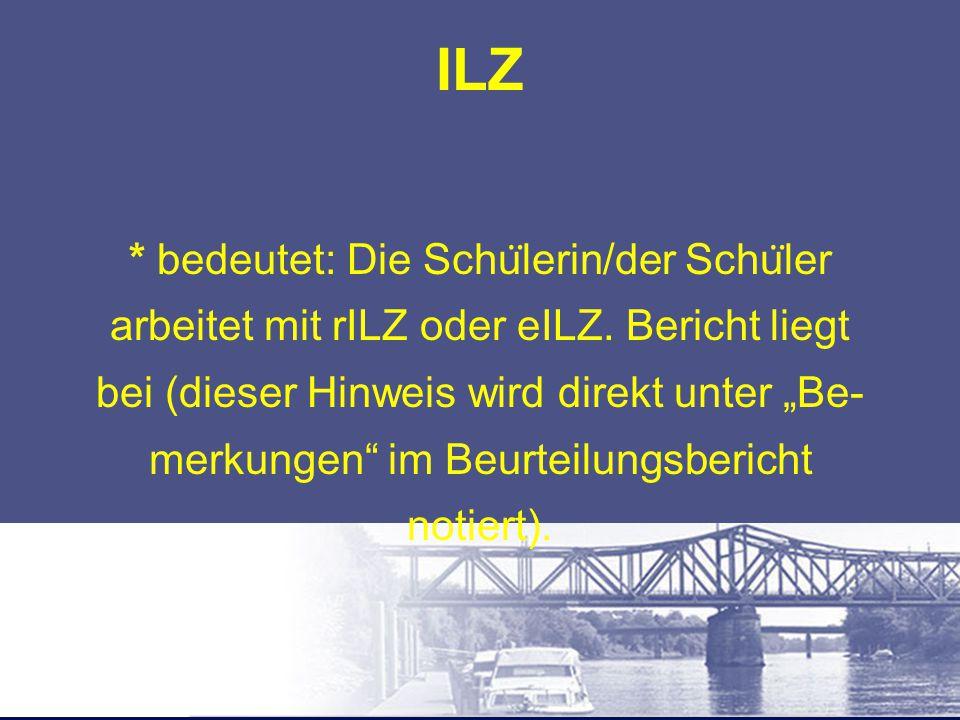 """ILZ * bedeutet: Die Schu ̈ lerin/der Schu ̈ ler arbeitet mit rILZ oder eILZ. Bericht liegt bei (dieser Hinweis wird direkt unter """"Be- merkungen"""" im Be"""