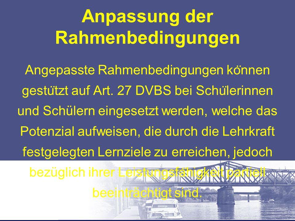 """Abweichen von der DVBS In einem solchen Fall lautet der Eintrag im Beurteilungsbericht: """"Keine Beurteilung der Teilgebiete Schreiben und Lesen im Fach Deutsch nach Art."""