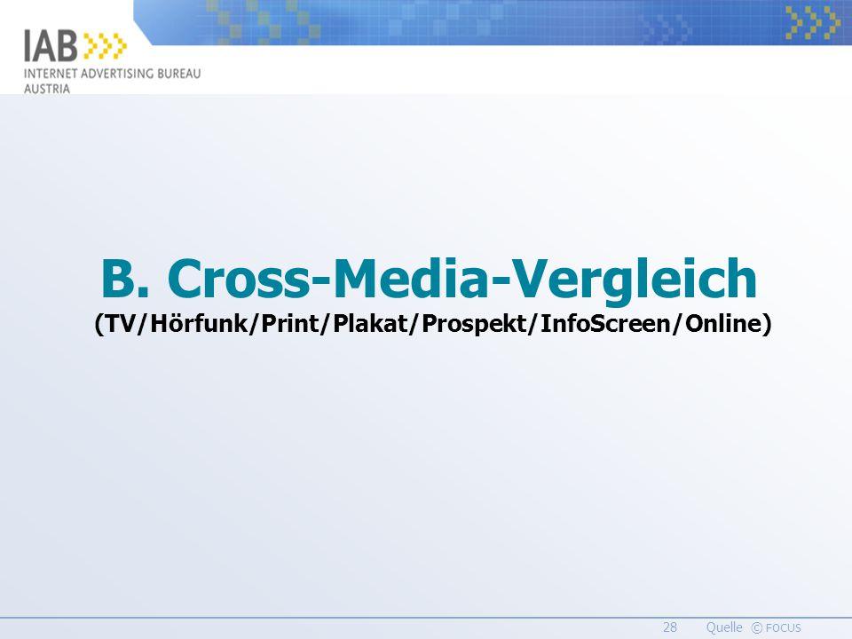 28 Quelle © FOCUS B. Cross-Media-Vergleich (TV/Hörfunk/Print/Plakat/Prospekt/InfoScreen/Online)
