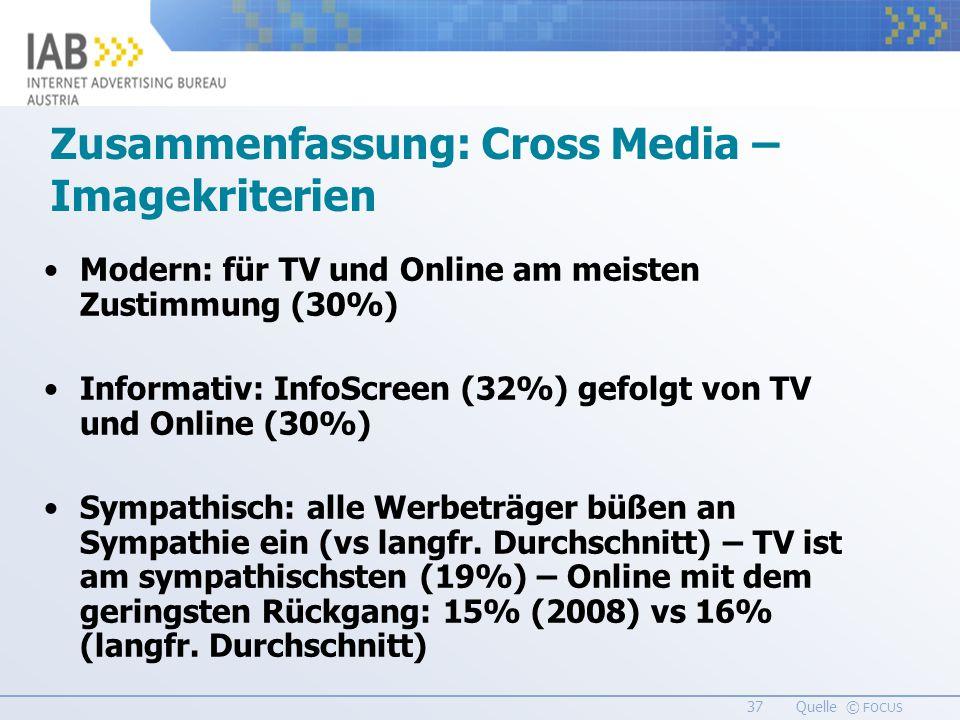 37 Quelle © FOCUS Zusammenfassung: Cross Media – Imagekriterien Modern: für TV und Online am meisten Zustimmung (30%) Informativ: InfoScreen (32%) gefolgt von TV und Online (30%) Sympathisch: alle Werbeträger büßen an Sympathie ein (vs langfr.