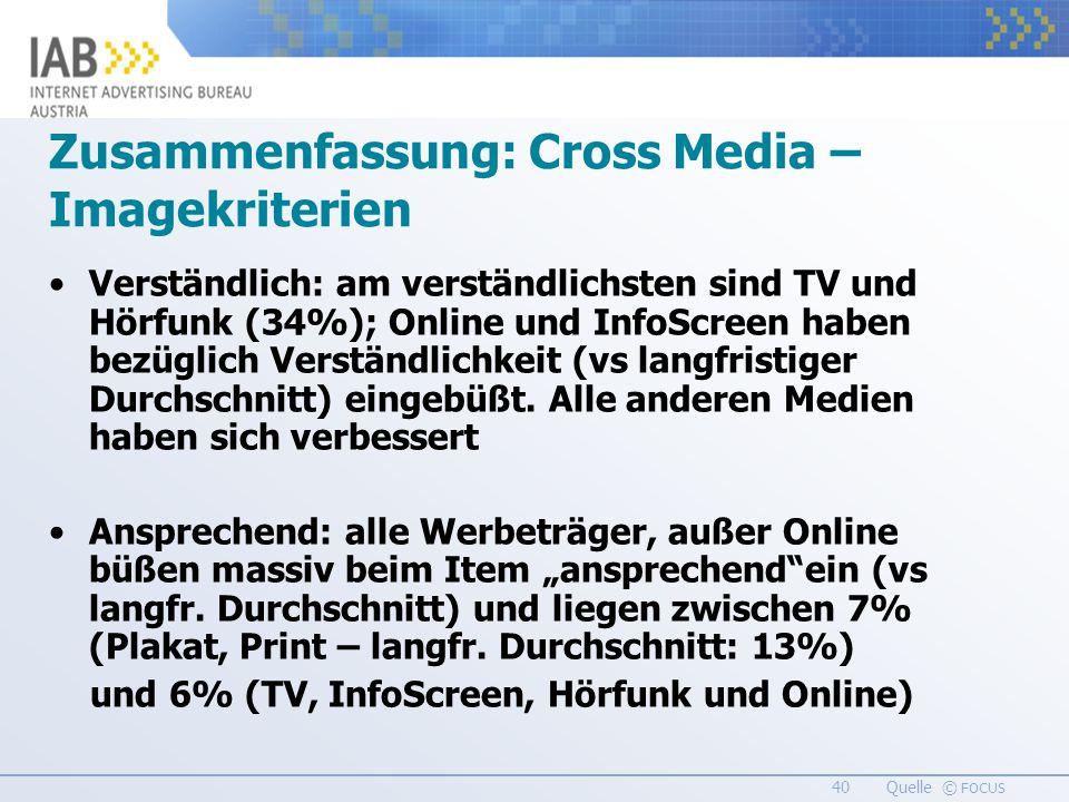 40 Quelle © FOCUS Verständlich: am verständlichsten sind TV und Hörfunk (34%); Online und InfoScreen haben bezüglich Verständlichkeit (vs langfristiger Durchschnitt) eingebüßt.