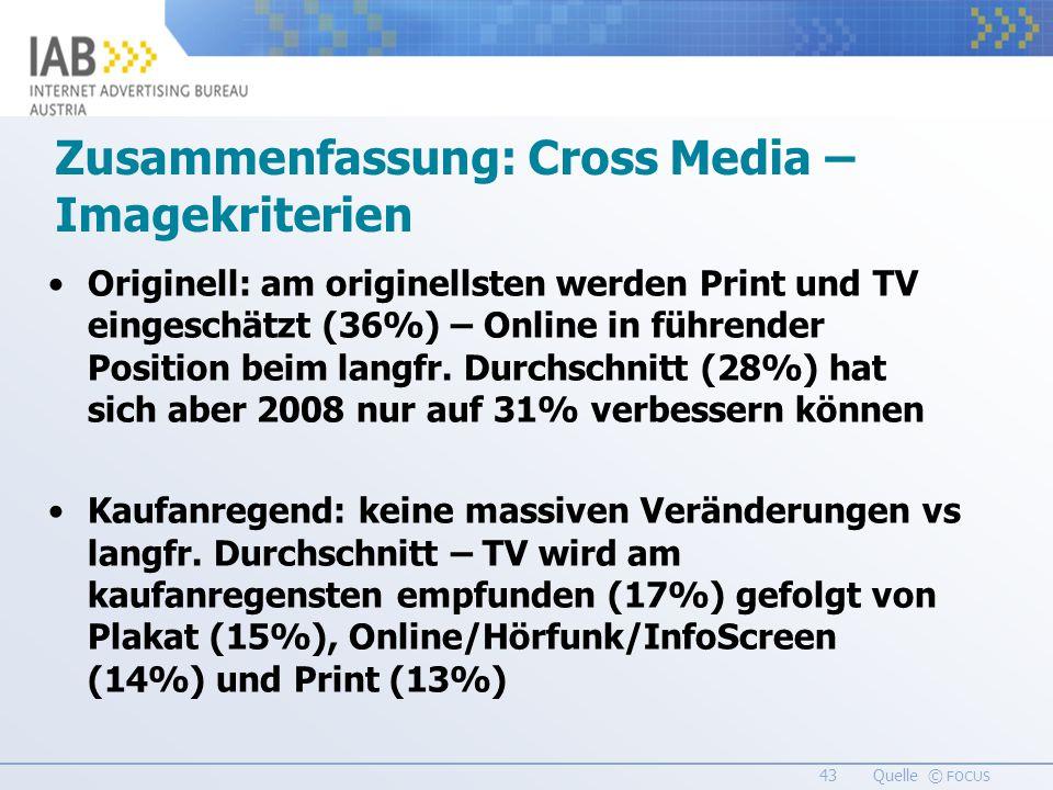 43 Quelle © FOCUS Originell: am originellsten werden Print und TV eingeschätzt (36%) – Online in führender Position beim langfr.