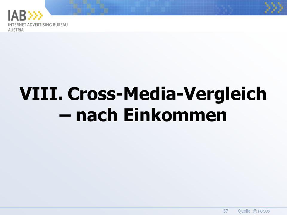 57 Quelle © FOCUS VIII. Cross-Media-Vergleich – nach Einkommen