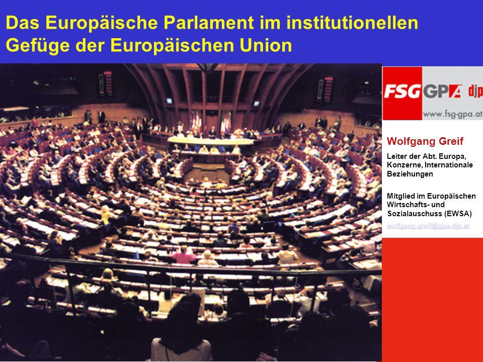 Das Europäische Parlament im institutionellen Gefüge der Europäischen Union Wolfgang Greif Leiter der Abt. Europa, Konzerne, Internationale Beziehunge