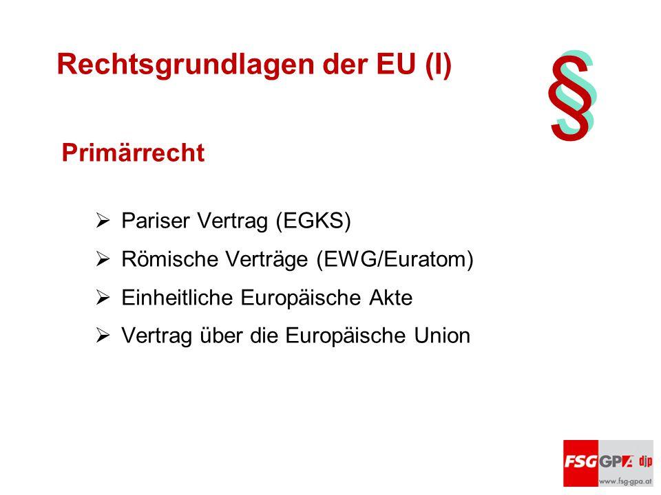 § § Rechtsgrundlagen der EU (I) Primärrecht  Pariser Vertrag (EGKS)  Römische Verträge (EWG/Euratom)  Einheitliche Europäische Akte  Vertrag über
