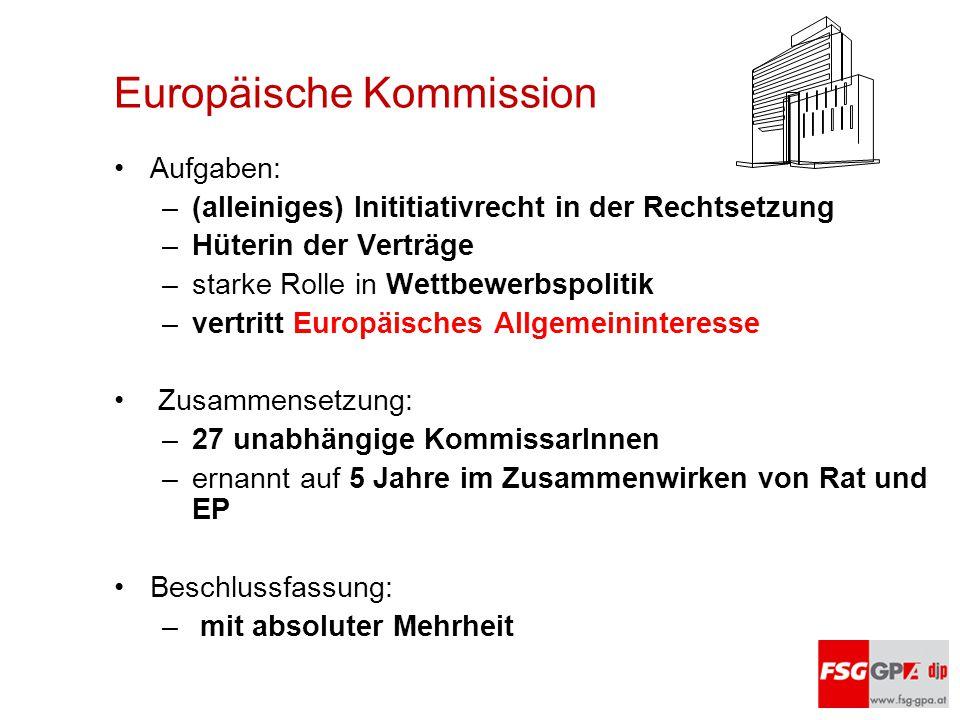 Europäische Kommission Aufgaben: –(alleiniges) Inititiativrecht in der Rechtsetzung –Hüterin der Verträge –starke Rolle in Wettbewerbspolitik –vertrit