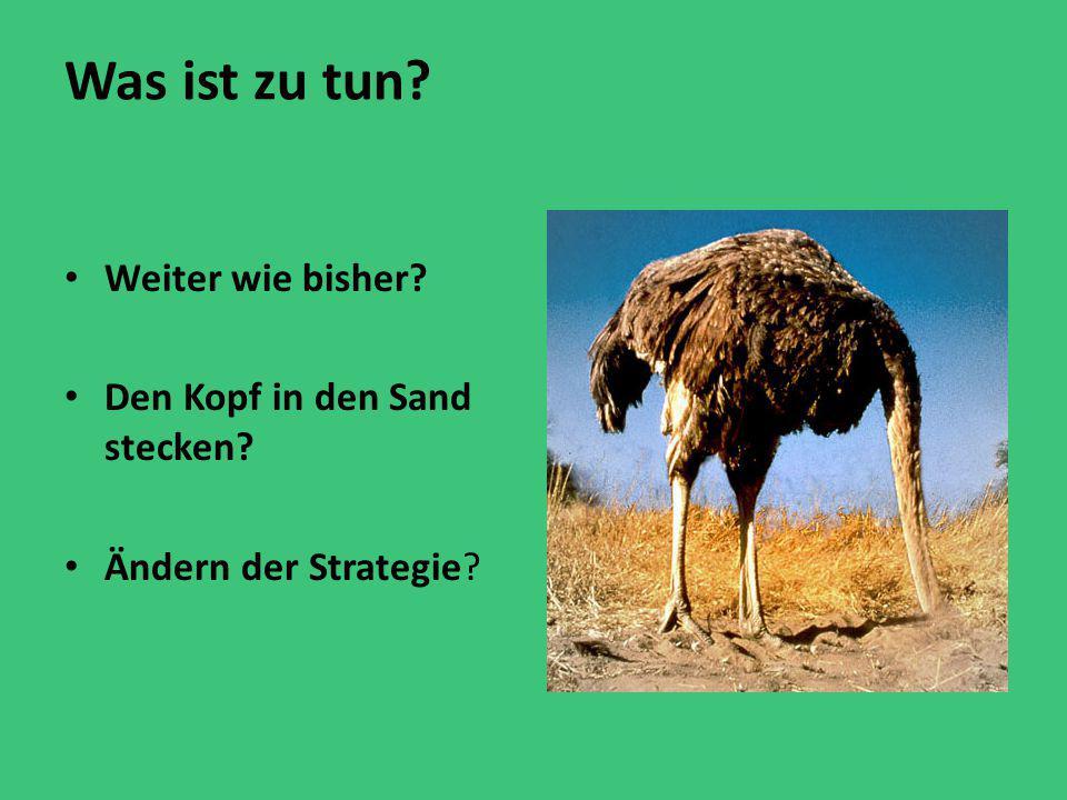 Was ist zu tun? Weiter wie bisher? Den Kopf in den Sand stecken? Ändern der Strategie?