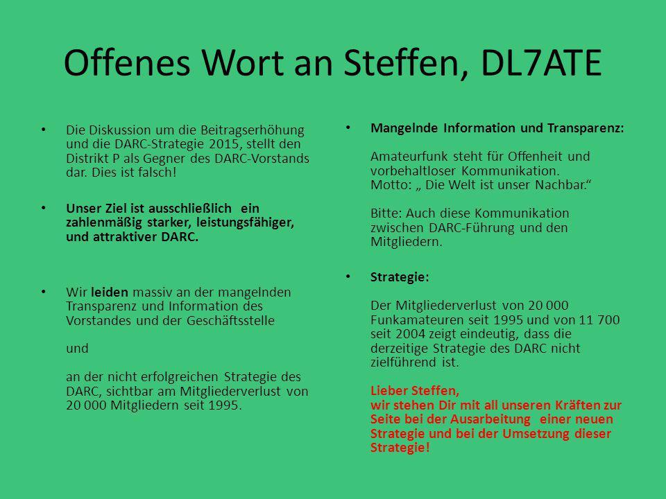 Offenes Wort an Steffen, DL7ATE Die Diskussion um die Beitragserhöhung und die DARC-Strategie 2015, stellt den Distrikt P als Gegner des DARC-Vorstand