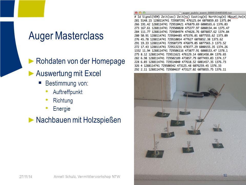 Auger Masterclass ► Rohdaten von der Homepage ► Auswertung mit Excel  Bestimmung von: Auftreffpunkt Richtung Energie ► Nachbauen mit Holzspießen 27/11/14Anneli Schulz, Vermittlerworkshop NTW 10