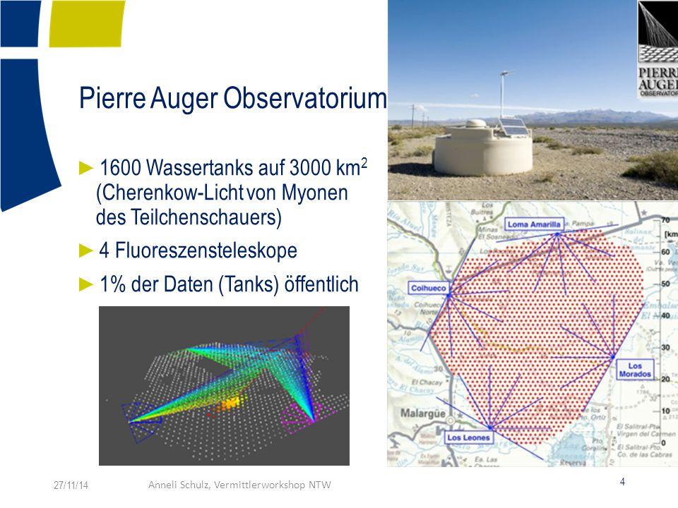 Pierre Auger Observatorium ► 1600 Wassertanks auf 3000 km 2 (Cherenkow-Licht von Myonen des Teilchenschauers) ► 4 Fluoreszensteleskope ► 1% der Daten (Tanks) öffentlich 27/11/14Anneli Schulz, Vermittlerworkshop NTW 4