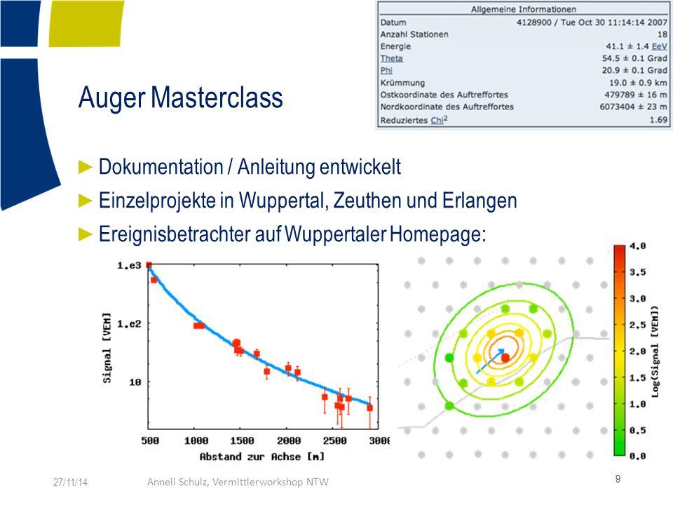 Auger Masterclass ► Dokumentation / Anleitung entwickelt ► Einzelprojekte in Wuppertal, Zeuthen und Erlangen ► Ereignisbetrachter auf Wuppertaler Homepage: 27/11/14Anneli Schulz, Vermittlerworkshop NTW 9