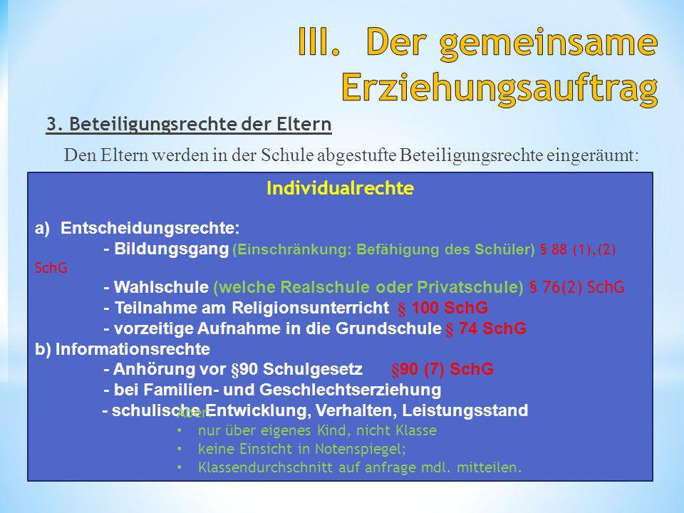 3. Beteiligungsrechte der Eltern Den Eltern werden in der Schule abgestufte Beteiligungsrechte eingeräumt: Schul- und Beamtenrecht 10 H. Fredrich Indi