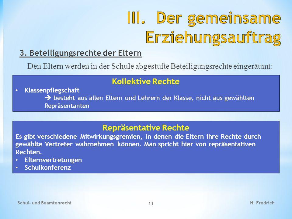 3. Beteiligungsrechte der Eltern Den Eltern werden in der Schule abgestufte Beteiligungsrechte eingeräumt: Schul- und Beamtenrecht 11 H. Fredrich Koll