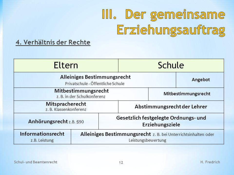 4.Verhältnis der Rechte Schul- und Beamtenrecht 12 H.