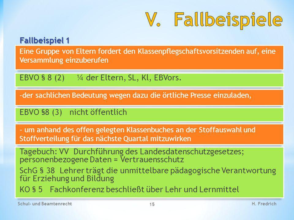 Fallbeispiel 1 Schul- und Beamtenrecht 15 H. Fredrich EBVO § 8 (2) ¼ der Eltern, SL, Kl, EBVors. Eine Gruppe von Eltern fordert den Klassenpflegschaft