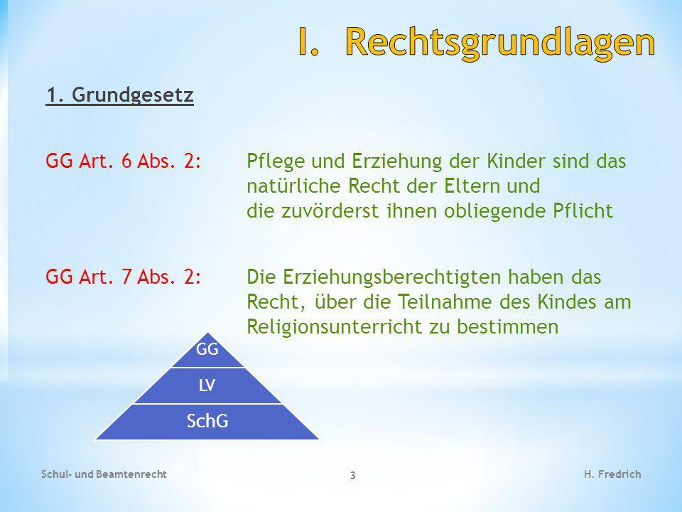 1. Grundgesetz GG Art. 6 Abs. 2:Pflege und Erziehung der Kinder sind das natürliche Recht der Eltern und die zuvörderst ihnen obliegende Pflicht GG Ar
