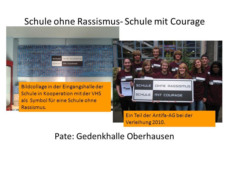 Schule ohne Rassismus- Schule mit Courage Pate: Gedenkhalle Oberhausen Bildcollage in der Eingangshalle der Schule in Kooperation mit der VHS als Symb