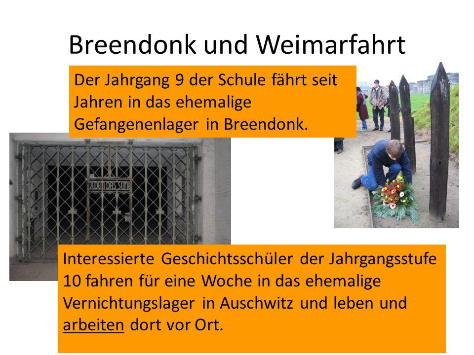 Breendonk und Weimarfahrt Der Jahrgang 9 der Schule fährt seit Jahren in das ehemalige Gefangenenlager in Breendonk. Interessierte Geschichtsschüler d