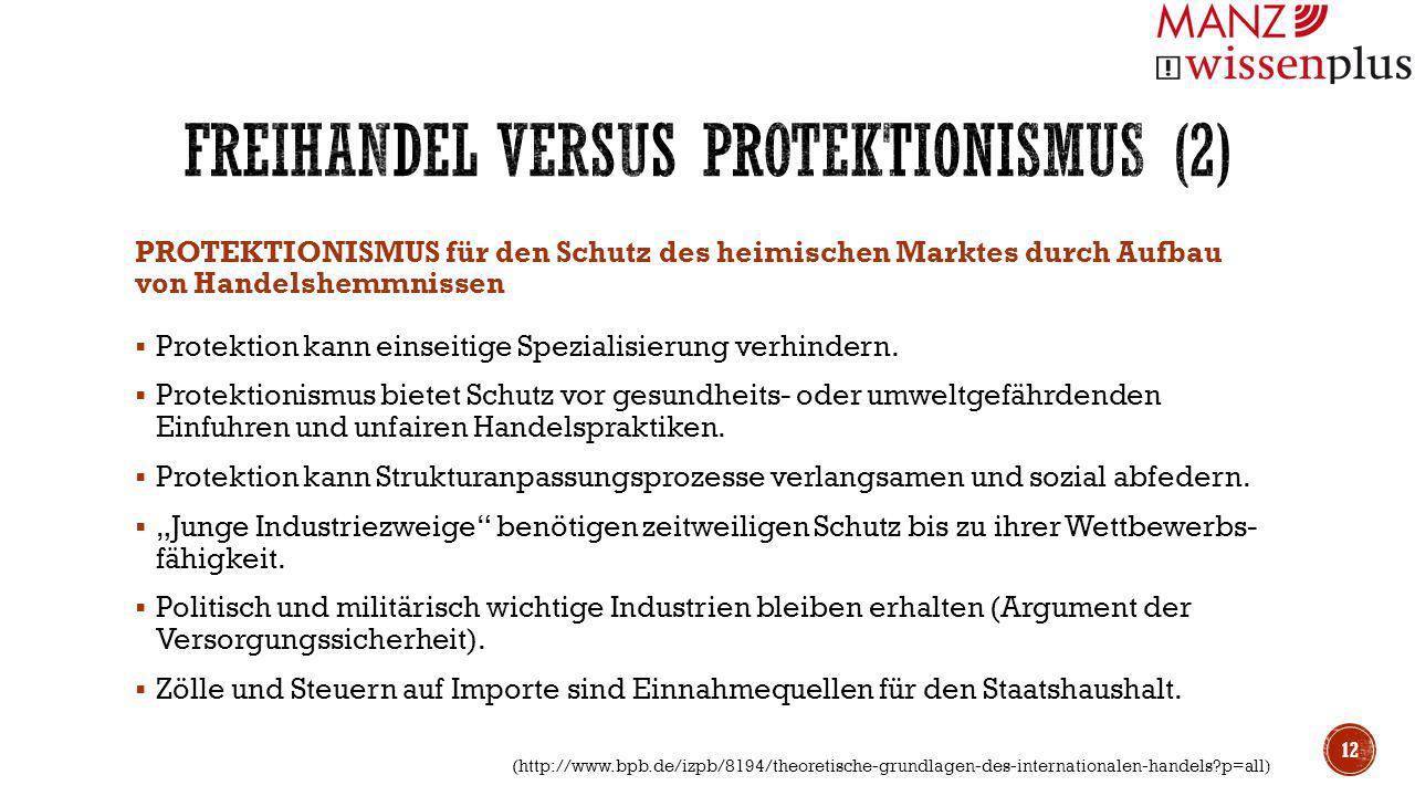 PROTEKTIONISMUS für den Schutz des heimischen Marktes durch Aufbau von Handelshemmnissen  Protektion kann einseitige Spezialisierung verhindern.  Pr