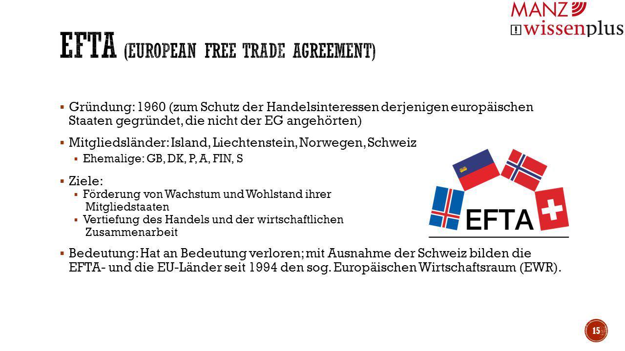  Gründung: 1960 (zum Schutz der Handelsinteressen derjenigen europäischen Staaten gegründet, die nicht der EG angehörten)  Mitgliedsländer: Island,
