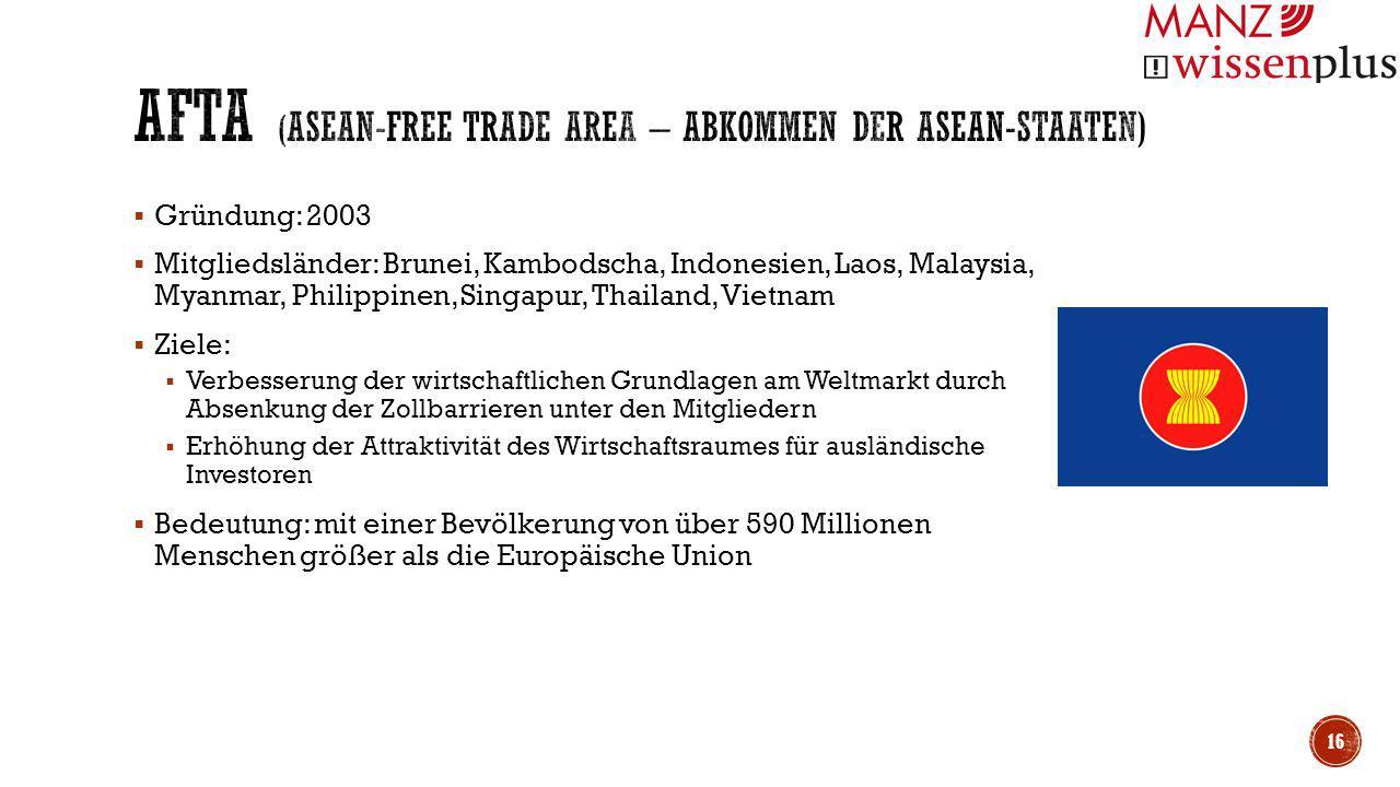  Gründung: 2003  Mitgliedsländer: Brunei, Kambodscha, Indonesien, Laos, Malaysia, Myanmar, Philippinen, Singapur, Thailand, Vietnam  Ziele:  Verbe