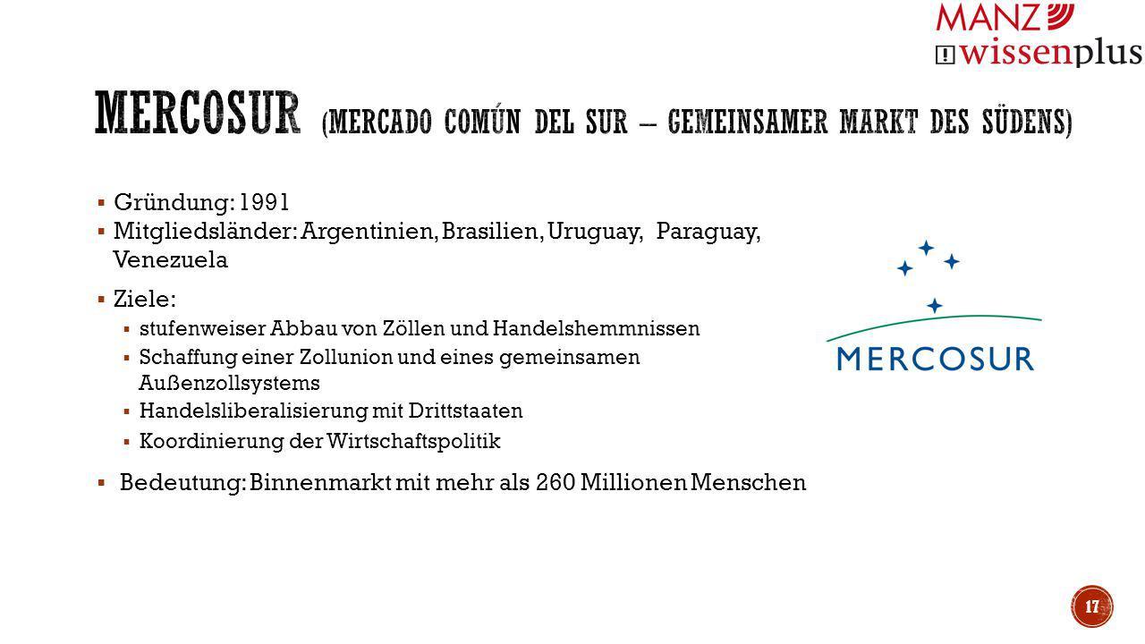  Gründung: 1991  Mitgliedsländer: Argentinien, Brasilien, Uruguay, Paraguay, Venezuela  Ziele:  stufenweiser Abbau von Zöllen und Handelshemmnisse