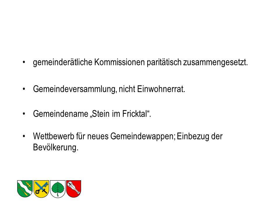 gemeinderätliche Kommissionen paritätisch zusammengesetzt.