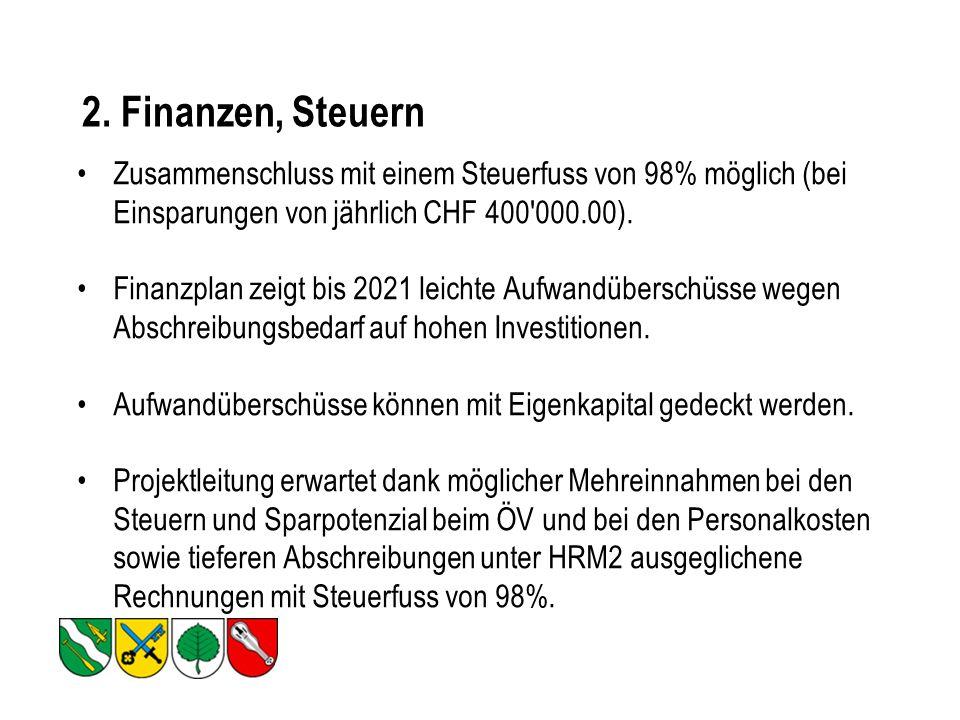 2. Finanzen, Steuern Zusammenschluss mit einem Steuerfuss von 98% möglich (bei Einsparungen von jährlich CHF 400'000.00). Finanzplan zeigt bis 2021 le
