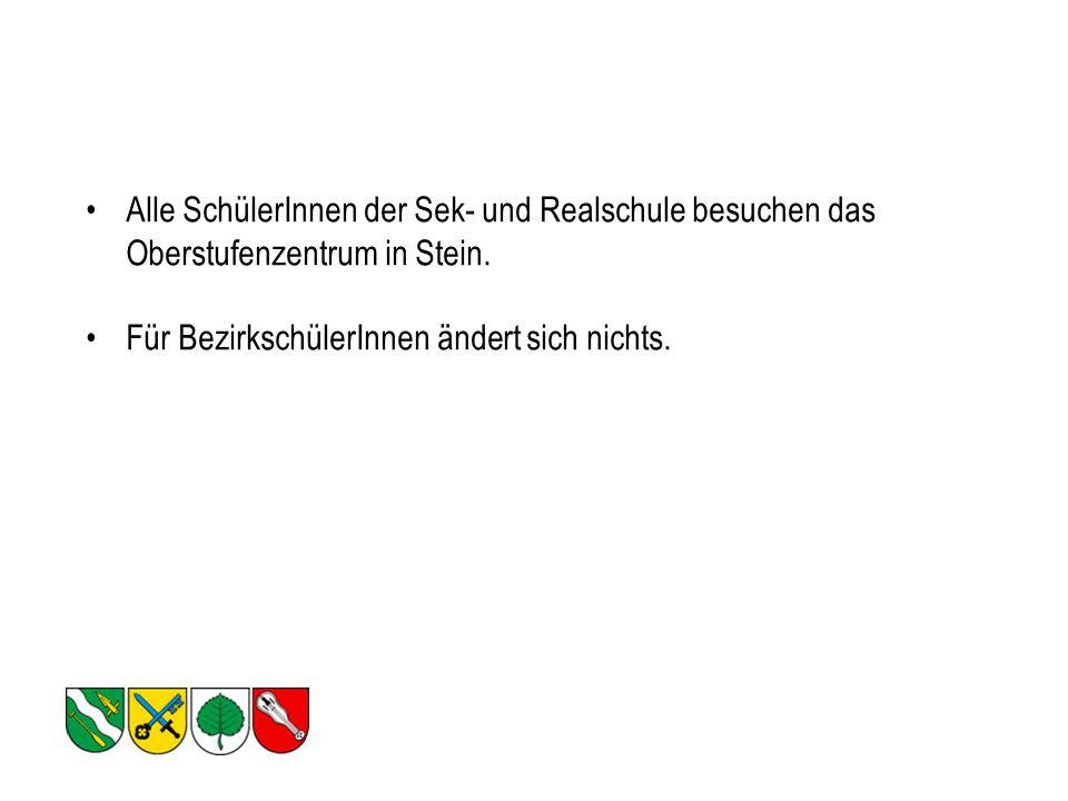 Alle SchülerInnen der Sek- und Realschule besuchen das Oberstufenzentrum in Stein.