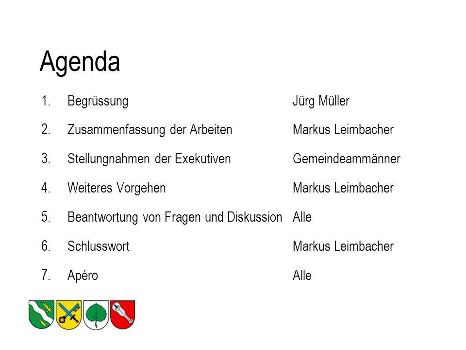Agenda 1.BegrüssungJürg Müller 2.Zusammenfassung der Arbeiten Markus Leimbacher 3.Stellungnahmen der ExekutivenGemeindeammänner 4.Weiteres VorgehenMarkus Leimbacher 5.Beantwortung von Fragen und DiskussionAlle 6.SchlusswortMarkus Leimbacher 7.ApéroAlle