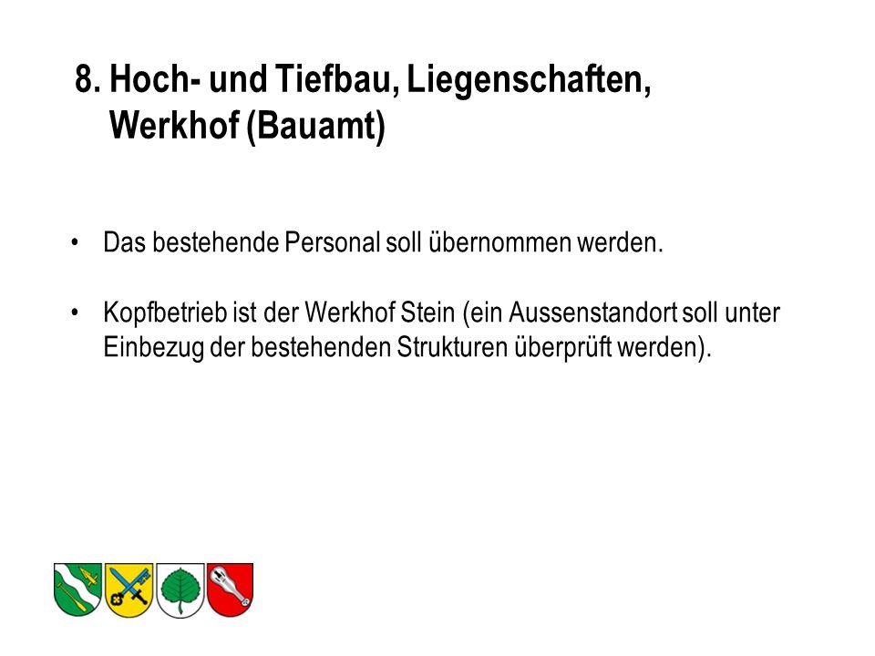8.Hoch- und Tiefbau, Liegenschaften, Werkhof (Bauamt) Das bestehende Personal soll übernommen werden.