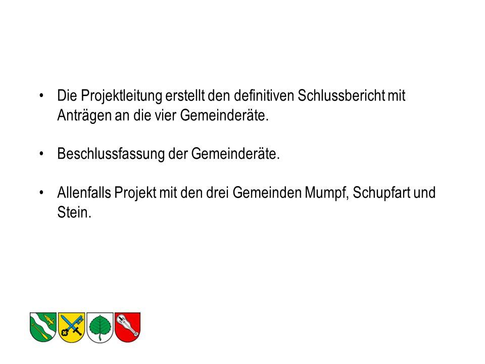 Die Projektleitung erstellt den definitiven Schlussbericht mit Anträgen an die vier Gemeinderäte.